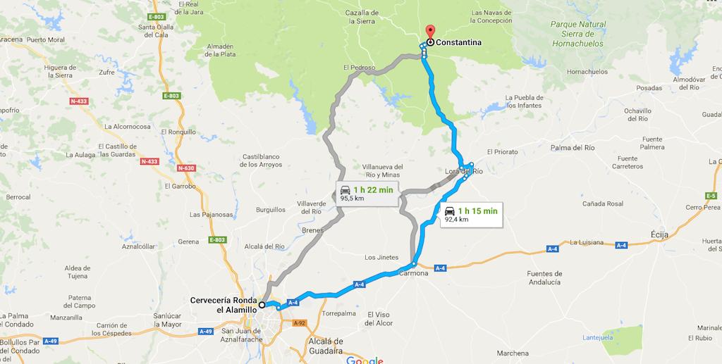 Recorrido desde Sevilla a Constantina
