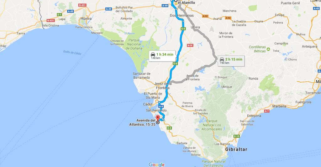 Recorrido desde Sevilla al Cabo de Roche