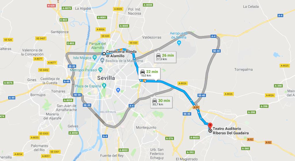 Recorrido desde Sevilla